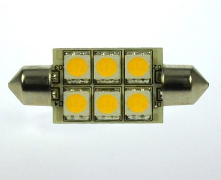 S8x42 LED-Soffitte LED6So42L Niedervolt DC-kompatibel (gleichstrom-fähig) warmweiss (3000°K) dimmbar. Einsetzbar im Spannungsbereich: 10-18V AC