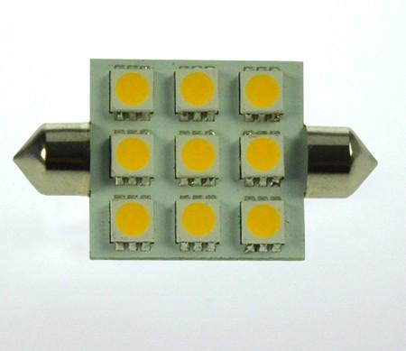 S8x37 LED-Soffitte LED9So37L Niedervolt DC-kompatibel (gleichstrom-fähig) warmweiss (3000°K) dimmbar. Einsetzbar im Spannungsbereich: 10-18V AC
