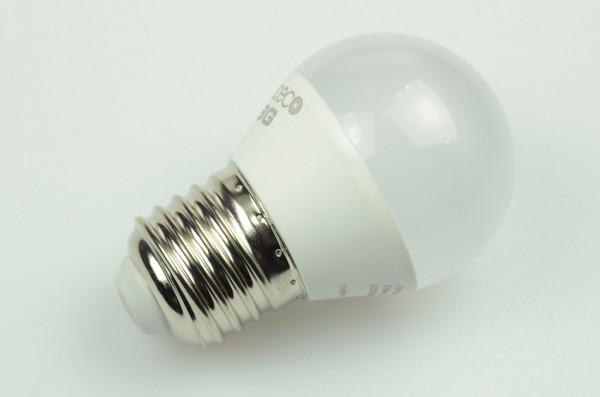 E27 LED-Globe LB45 LED4x1G4527Lm Hochvolt DC-kompatibel (gleichstrom-fähig) warmweiss (2700°K) . Einsetzbar im Spannungsbereich: 110-240 AC