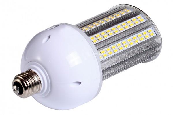 E27 LED-Strassenlampe LED110STR27Lo Hochvolt warmweiss (3000°K) IP64, 4KV, inkl. Stütze. Einsetzbar im Spannungsbereich: 100-277V AC